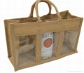 Eco friendly jute or linen wine carrying bag