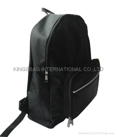 Foldable polyester backpack black color, promotional foldable rucksack  1