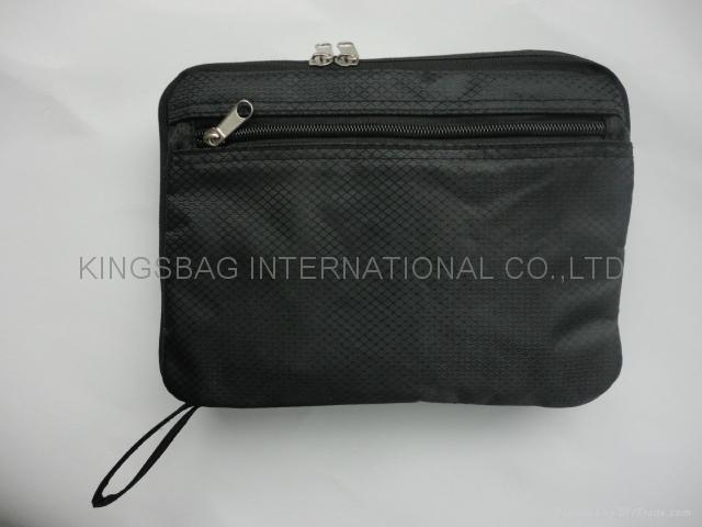 Foldable polyester backpack black color, promotional foldable rucksack  2