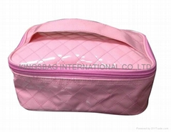 Shiny PVC quilted wash bag/ladies toiletry bag w/short handle,beauty makeup bag
