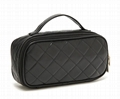 Fancy PU diamond quilted makeup bag, ladies PU carrier cosmetic bag