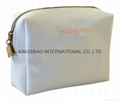 White PU/PVC cosmetic bag with hot stamp