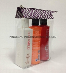 Transparent PVC w/pp woven beauty cosmetics packing bag,clear PVC makeup bag
