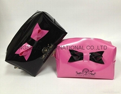 PVC cosmetic bag with bow,vinyl PVC makeup with bow