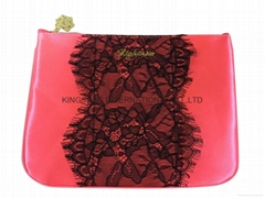 Satin cosmetic bags with lace covers,satin cosmetic pouch,satin clutch with lace