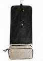 Jute/pu woven organizer shaving men's toiletry bag with hanging hook