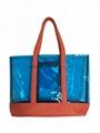 Clear PVC beach bag with PU handles.
