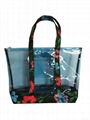 Floral polyester/PVC ladies tote bag,clear pvc with floral polyester shopper