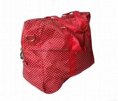Dots pritns polyester weekend duffel bag in red, promotion polyester travel bag