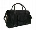 Black nylon mummy duffel bag, nylon