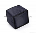 Polyester cosmetic bag with short handle
