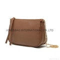 Litchi pattern PU ladies small shoulder bag with long metal chain