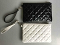 PU quilted clutch bag with detachable
