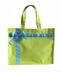 230D nylon tote bag with satin bow on the front,nylon staff bag with bow