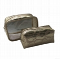 Snake pattern PU cosmetic bag with clear pvc on both front&back side