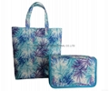 Polyester coated travel toiletry bag with short handle,