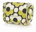 Floral canvas portable hanging toiletry cosmetic bags