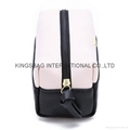 Litchi pattern two tone PU ladies cosmetic bag,makeup bag pink/black colour