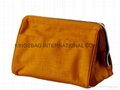 Washed nylon cosmetic bag khaki,nylon make up bags
