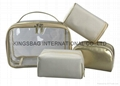 Satin/polyester ladies cosmetic bags set