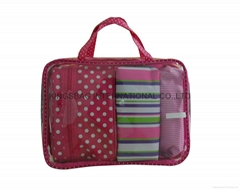Polyester/clear PVC Cosmetic bag set,makeup bags set