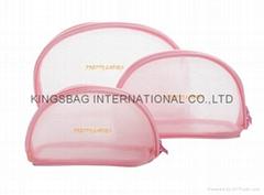 High quality mesh shell shape cosmetic bag pink colour
