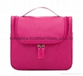 Plaid polyester portable hanging toiletry bag,amenity bag pink colour