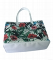 Floral pattern polyester coated ladies tote beach bag,Flower Tote shopper bag
