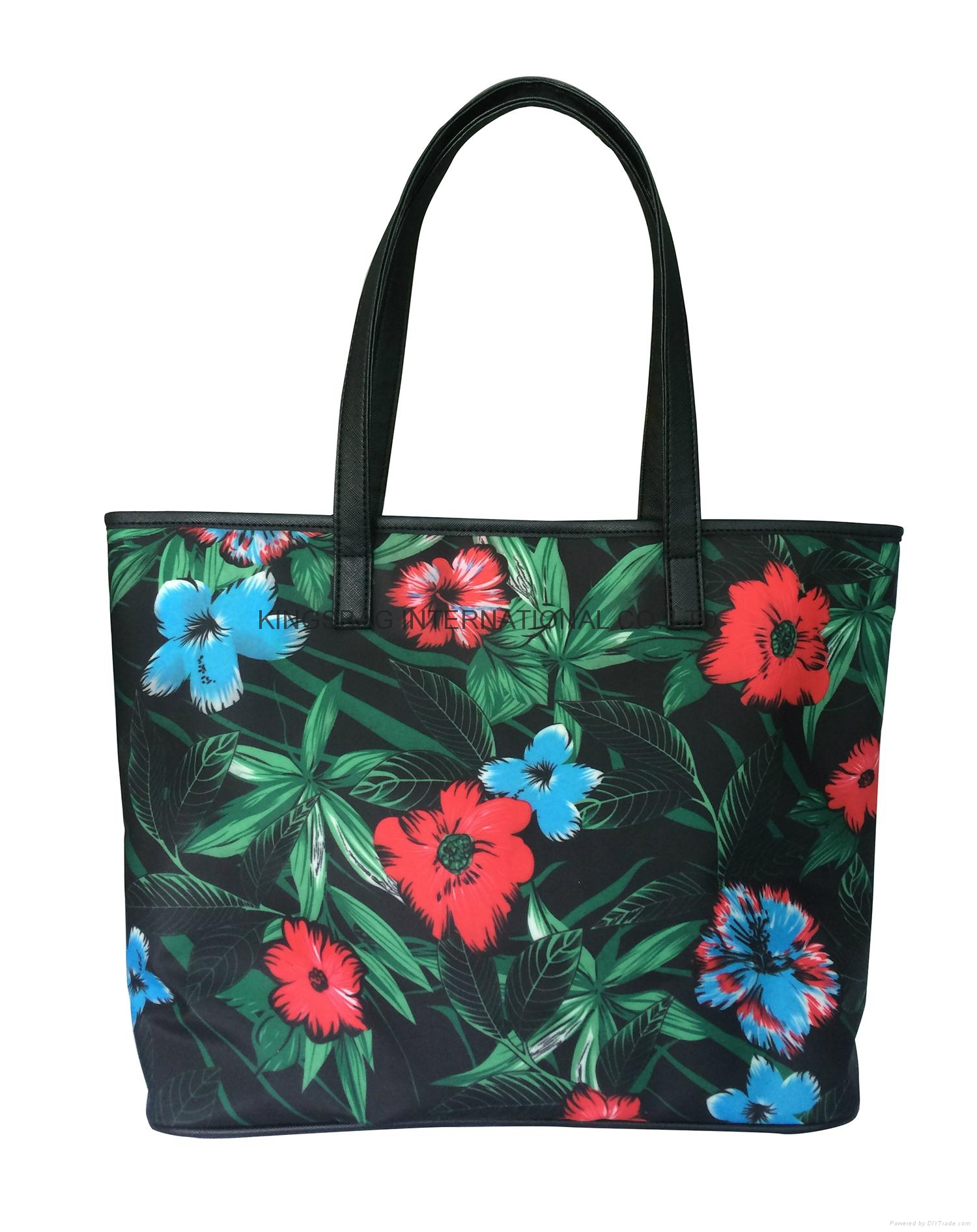 Floral pattern polyester coated ladies fashion tote shopper bag ... 5128d894528f9
