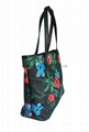 Floral pattern polyester coated ladies fashion tote shopper bag,beach bag