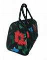 Flower/Floral pattern polyester coated ladies fashion tote bag black colour