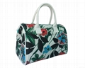 Fashion flower pattern polyester coated ladies tote shopper bag white colour