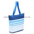 Stripe pattern polyester thermal cooler bag