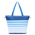 Stripe pattern polyester thermal cooler bag
