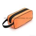 840D nylon/mesh portable travel cosmetic bag,makeup bag orange colour