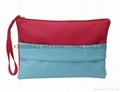 Two tone faux leather PU ladies clutch