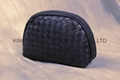 Genuine leather woven shell shape lady cosmetic bag,clutch purse bag