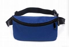 Polyester waist bag blue colour, polyester bumbag blue bag