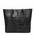 Litchi patter PU leather large tote shoulder handbag black colour
