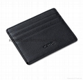 Genuine leather litchi pattern small card holder black colour