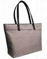 Jute lady shoulder tote bags light gray colour