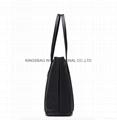 Black nylon ladies tote shoulder bag with zipper at top  4