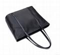 Black nylon ladies tote shoulder bag with zipper at top  3
