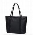 Black nylon ladies tote shoulder bag with zipper at top  2