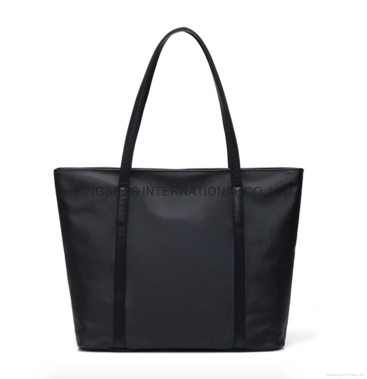 Black nylon ladies tote shoulder bag with zipper at top  1