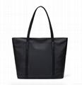 Black nylon ladies tote shoulder bag with zipper at top