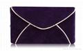 Velvet purple envelop shape cosmetics clutch bag,makeup bags