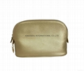 Cross pattern PU leather lady cosmetic case, make up case gold colour