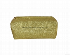 Glitter PU small rectangle lady cosmetic case ,makeup case bag in gold colour