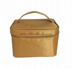 Khaki nylon lady cosmetic storage case with easy carrying handle